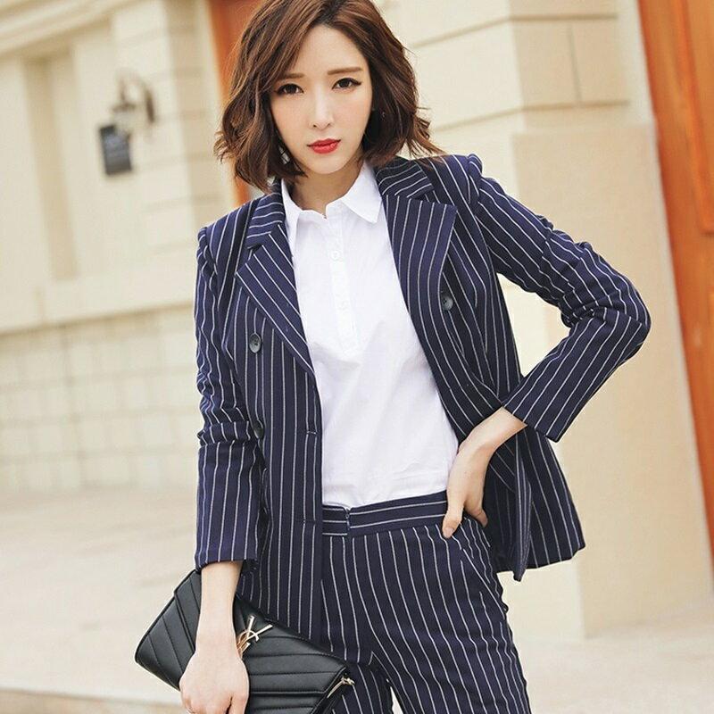 西裝套裝西裝外套+長褲(兩件套)-條紋時尚休閒修身女西服73xs39【獨家進口】【米蘭精品】