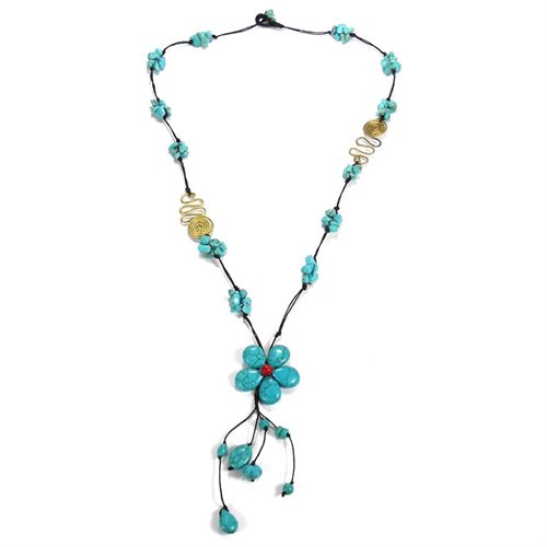 Long Drop Turquoise Flower-Brass Deco Wax Rope Necklace 0