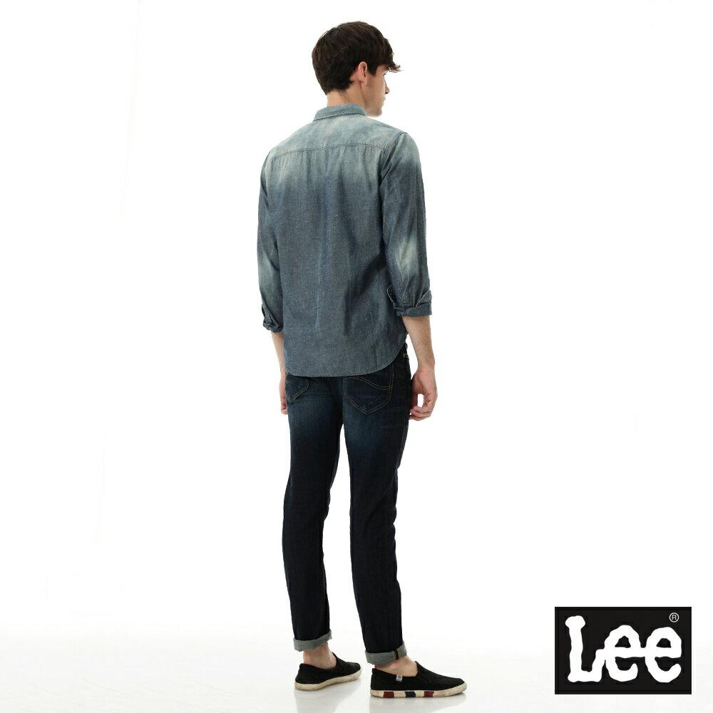 Lee 牛仔襯衫 棉點竹節深淺漸層 -男款-中古淺藍 7