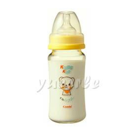 Combi 康貝 Kuma Kun 寬口耐熱玻璃哺乳瓶240ml (黃) 【悅兒園婦幼生活館】