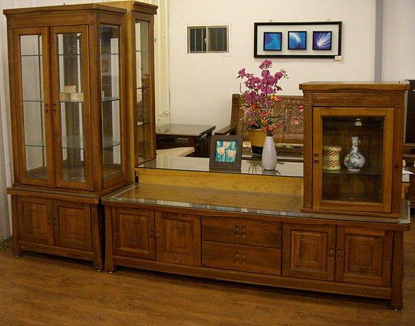 ~尚品傢俱~K~648~03 日式和風樟木全實木電視櫃 L櫃 長櫃 附玻璃