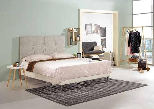 【尚品傢俱】CM-162-4凱伊5尺雙人床(米白色布,另有六尺)