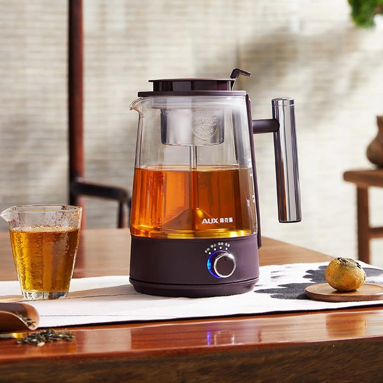 奧克斯黑茶煮茶器玻璃電熱煮茶壺家用全自動蒸汽蒸花茶普洱養生壺-220v♠極有家♠