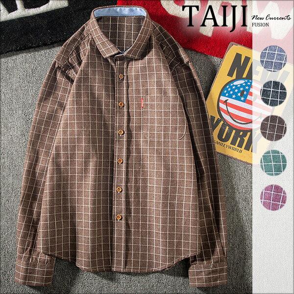 TAIJI:大尺碼襯衫‧袖口反折拼色設計細格紋長袖襯衫‧五色‧加大尺碼【NTJBA708】-TAIJI-