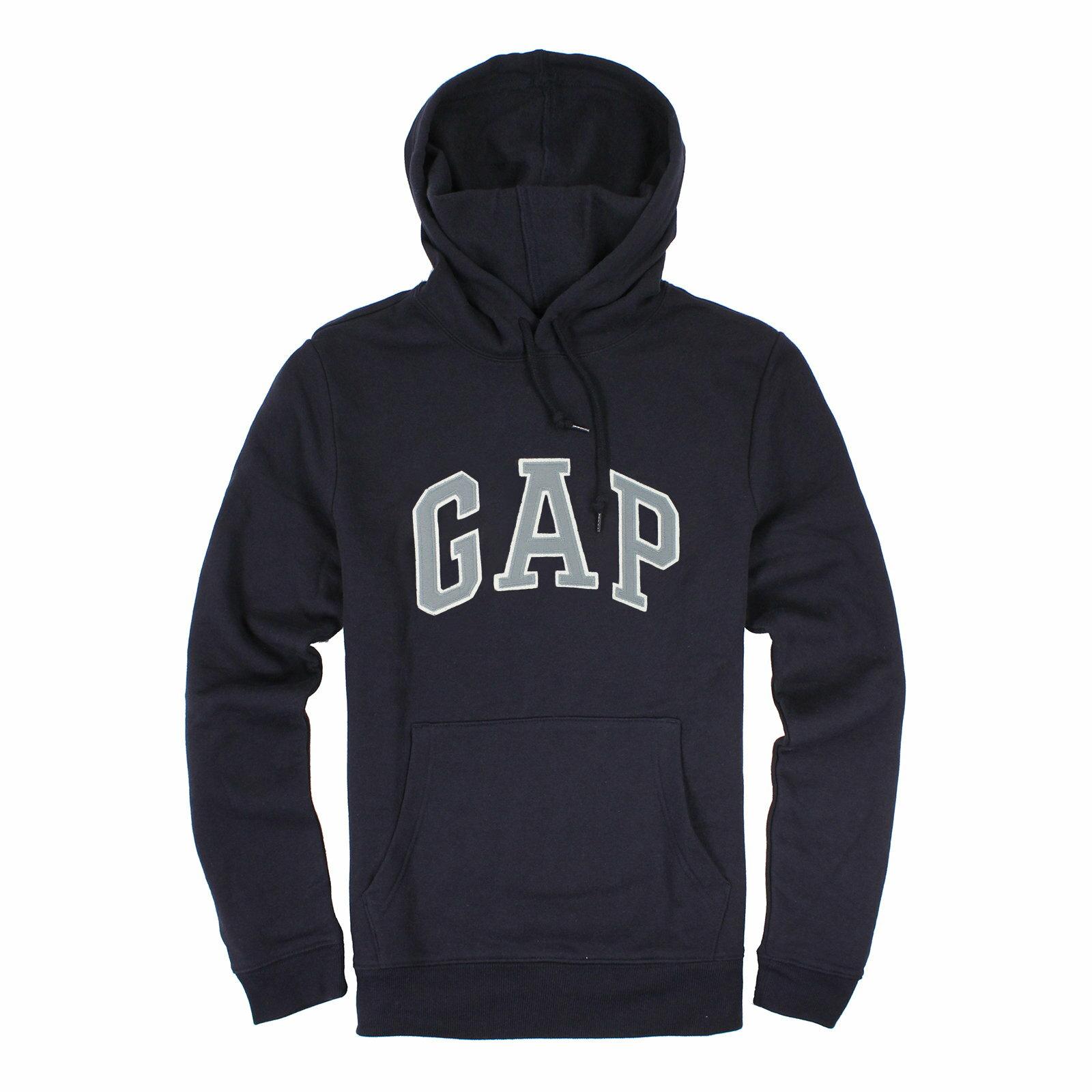【蟹老闆】GAP【現貨】美國 GAP 經典文字LOGO款 男生 藍色灰字 長袖帽T
