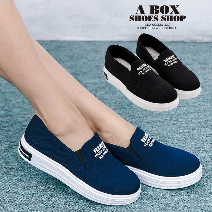 格子舖*【AS906】韓版簡單布面材質 鬆緊穿拖 厚底增高4cm懶人鞋 帆布鞋 2色
