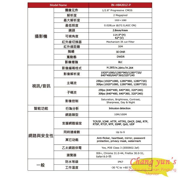 高雄/台南/屏東監視器 ICATCH可取套餐 IVR-0461UC-1 Ultra 4路NVR + IN-HC4201Z-P 網路攝影機*4