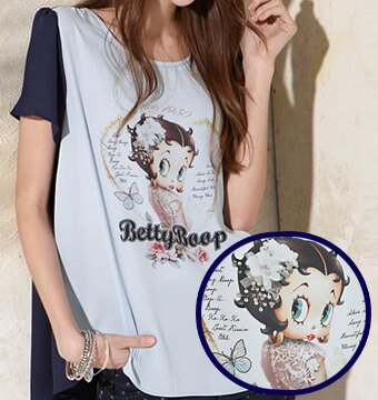上衣 Betty Boop 雪紡配色前短後長圓領上衣 - 限時優惠好康折扣