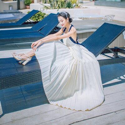 連身裙細肩帶洋裝-露背綁帶雪紡波希米亞風女連衣裙73pu65【獨家進口】【米蘭精品】