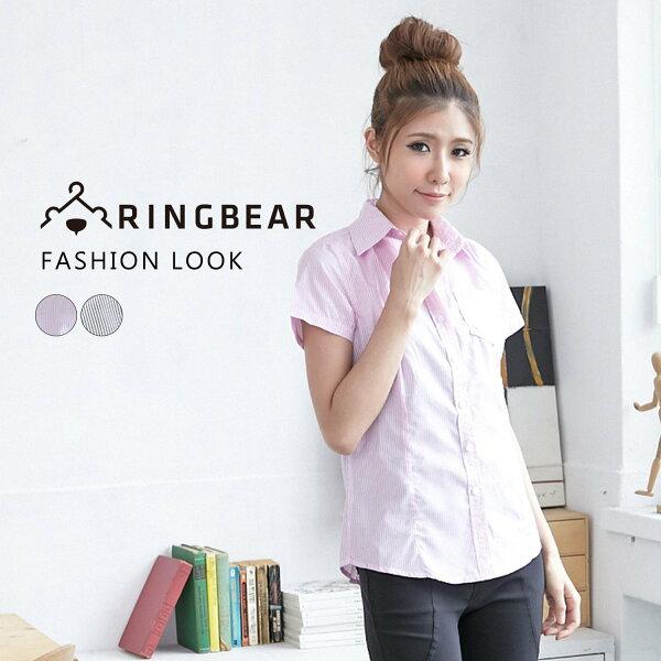 襯衫--簡約氣質OL首選單邊口袋設計條紋修身短袖襯衫(黑.粉M-2L)-H132眼圈熊中大尺碼