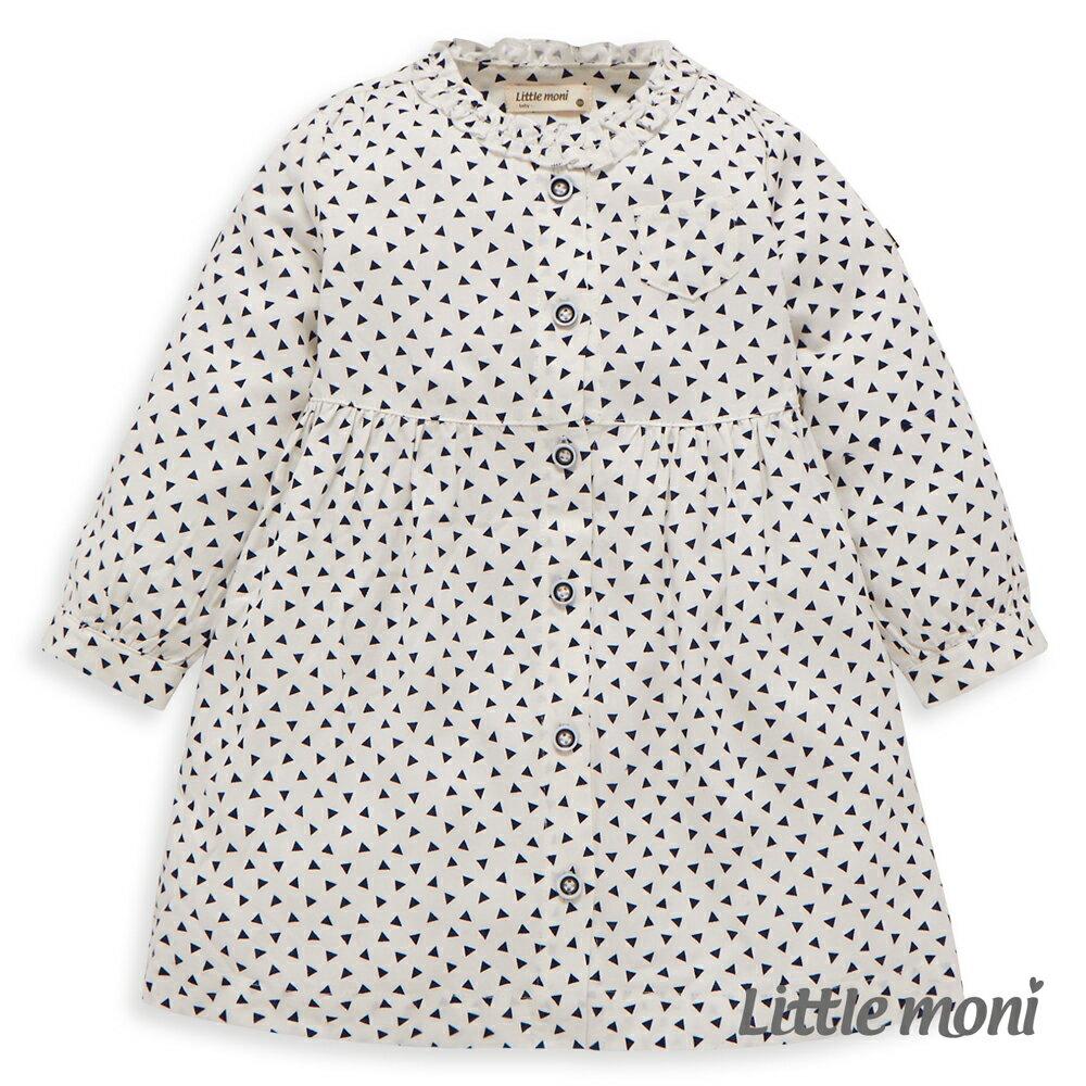 Little moni 甜美女孩襯衫洋裝 - 白色