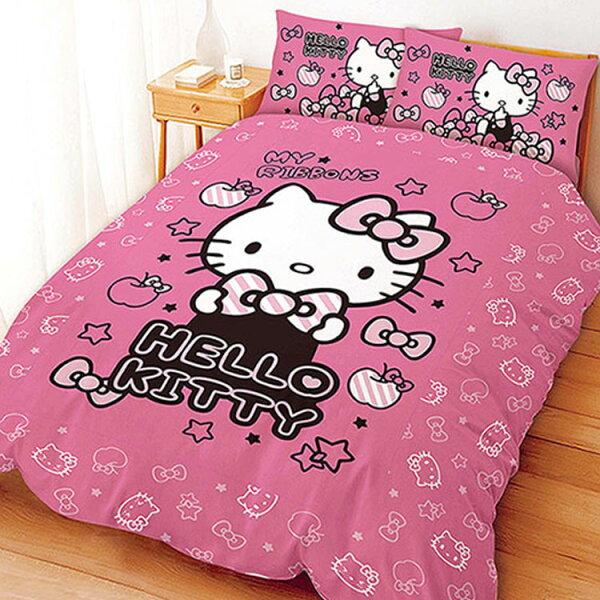 【名流寢飾家居館】HelloKitty.貼心小物.加大單人床包組兩用鋪棉被套全套.全程臺灣製造