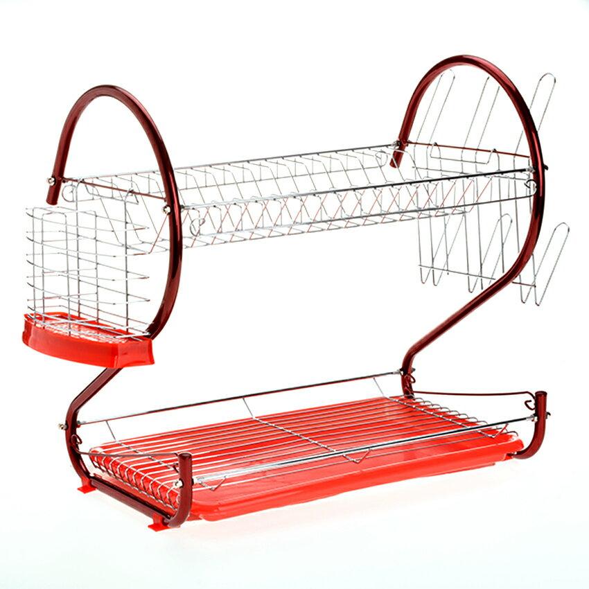 2-Tier Dish Drying Rack Stainless Steel Drainer Kitchen Storage 1