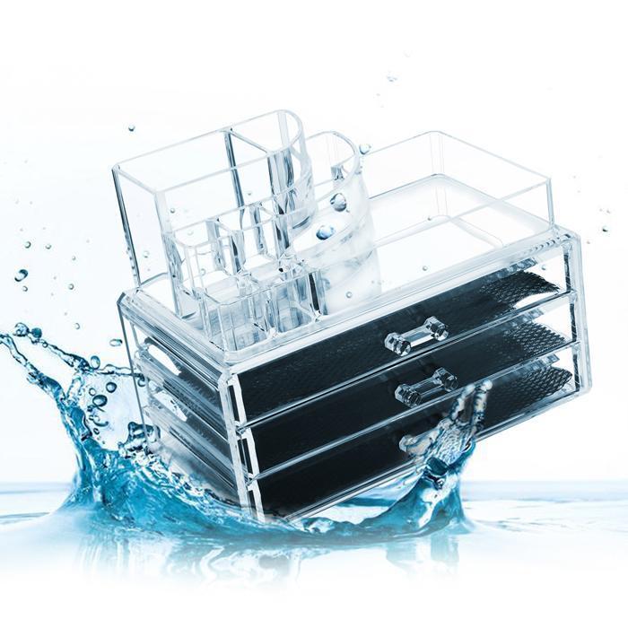 Acrylic Desktop Cosmetic 3 Drawers Grids Multi Tiers Display Storage 0
