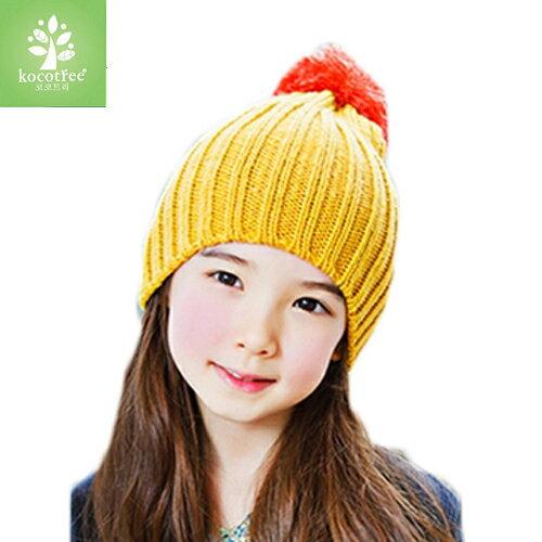 Kocotree◆ 簡約氣質純色糖果色立體大毛球兒童保暖毛線帽~黃色