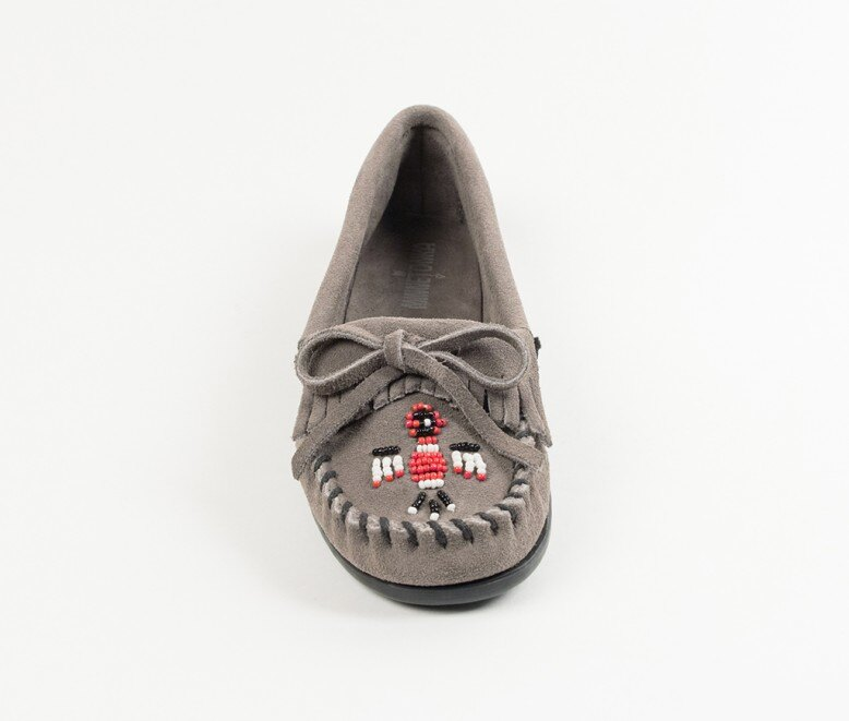 【Minnetonka 莫卡辛】灰色 - 磨砂牛皮、豆豆底、流蘇、蝴蝶結、串珠、雷鳥二代 3