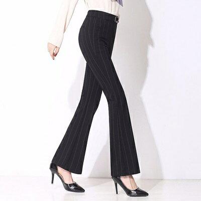 喇叭褲長褲-微喇叭條紋顯瘦高腰女西裝褲73rf14【獨家進口】【米蘭精品】