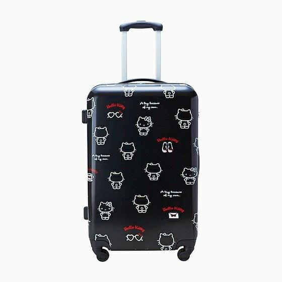 【真愛日本】4901610214916 硬殼旅行箱SS-KT黑AAS 三麗鷗 Hello Kitty 凱蒂貓 行李箱 登機箱