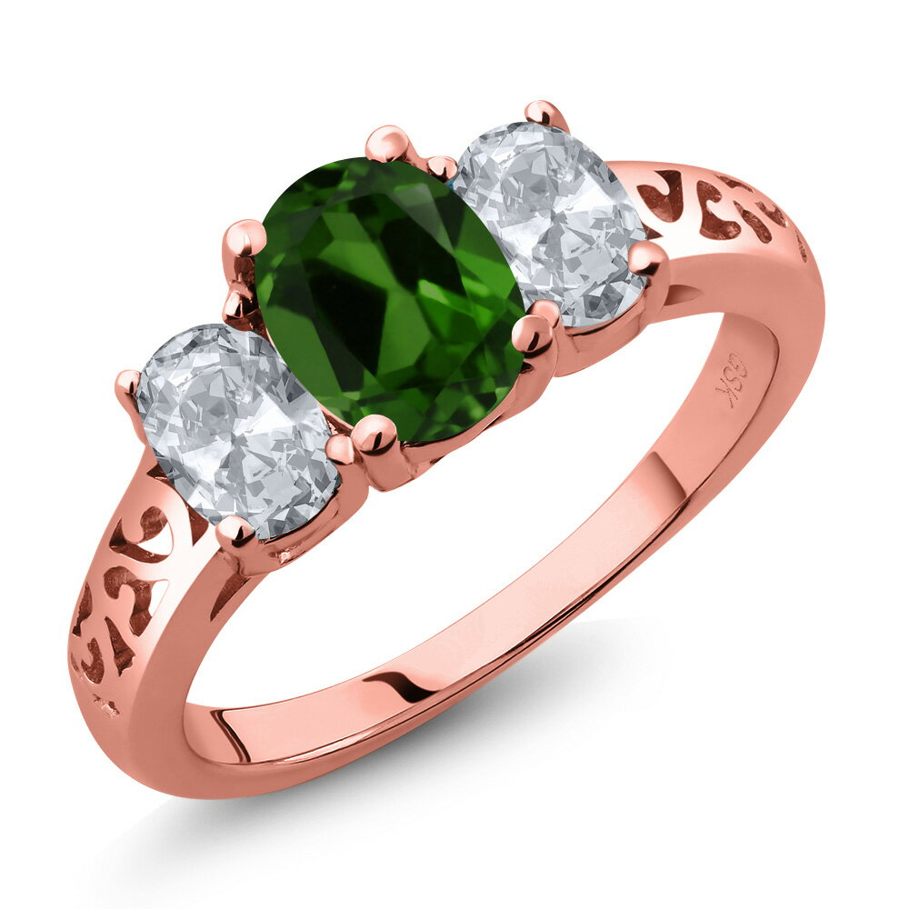 2.20 Ct Oval Green Chrome Diopside White Topaz 18K Rose Gold Ring 0