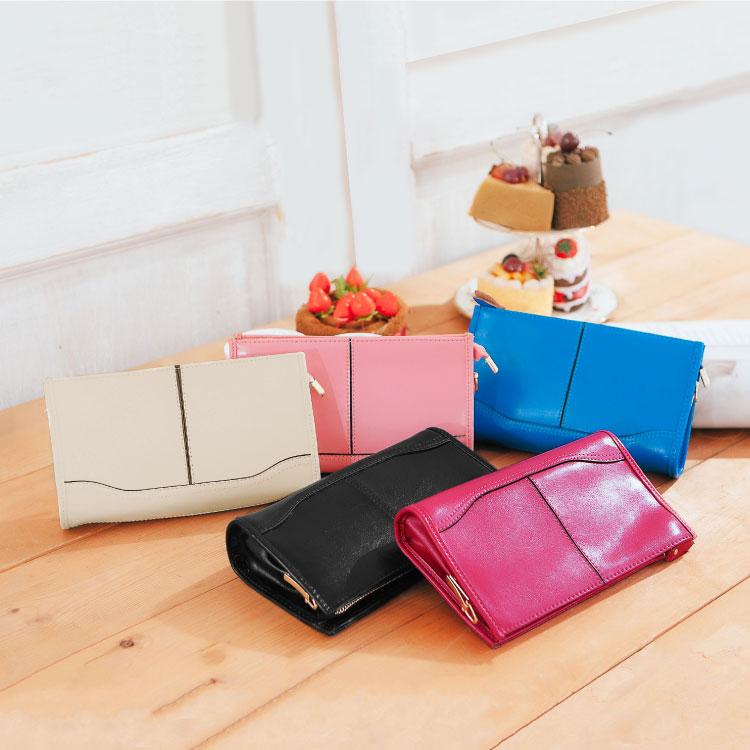 真皮2用長夾, 簡約款晚宴包 手拿包 皮夾 斜背包 可放iphone6s 護照 89.Al