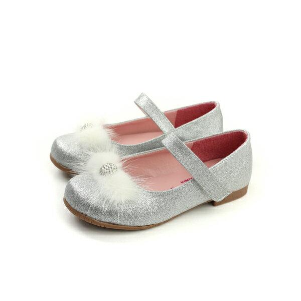 HUMAN PEACE:KINGCHILDED小女生鞋娃娃鞋亮粉絨毛球銀色中童童鞋no156
