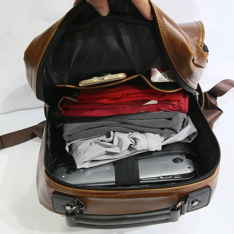 FINDSENSE 男包 G6 男用休閒包肩背包大容量後背包雙肩包休閒書包男簡約商務包旅行包旅行袋復古包包
