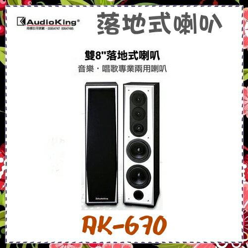 *可議價* 【AudioKing 台灣憾聲】落地式喇叭 音樂、歌唱兩用 雙8《AK-670》全新原廠保固