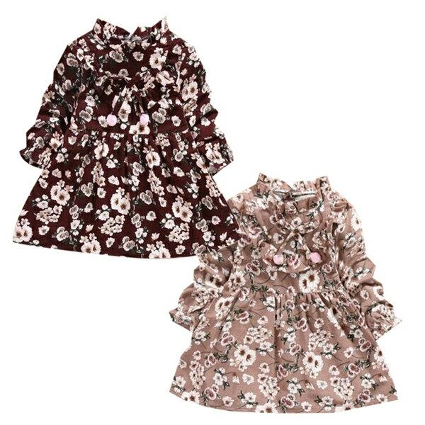 長袖洋裝 典雅碎花 連身裙 洋裝 女寶寶 連衣裙 童裝 SG1045 好娃娃