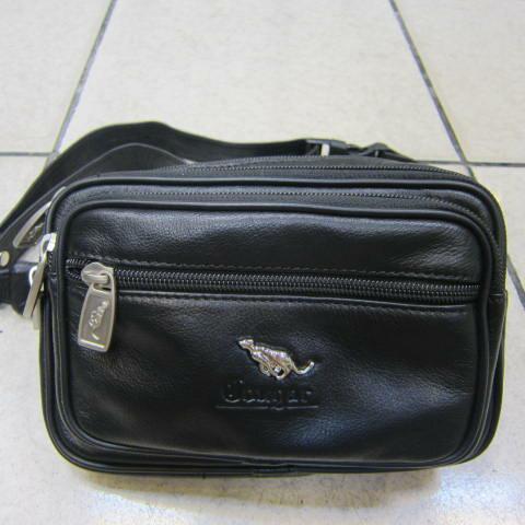 ~雪黛屋~Cougar 美國專櫃霹靂真皮腰包二層拉鍊主袋隨身重要物品防竊盜功能包 100%進口牛皮CG8071黑