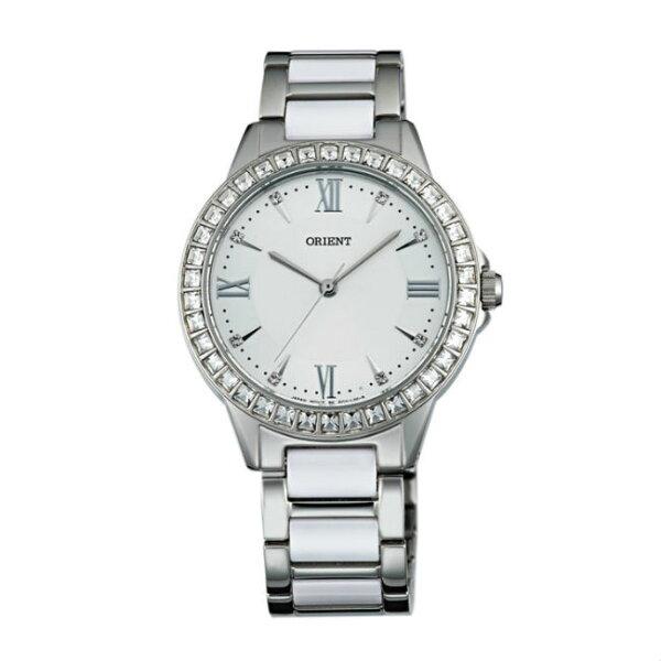 ORIENT東方錶DRESS系列(FQC11004W)時尚晶鑽羅馬數字石英錶陶瓷鋼帶款白色34mm