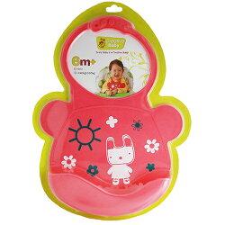 Creative Baby 創寶貝 可收納式攜帶防水無毒矽膠學習圍兜-乖巧小兔★衛立兒生活館★
