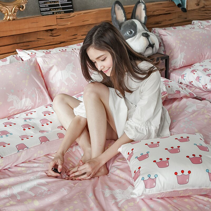 床包被套組  /  雙人加大-100%精梳棉【奇幻不思議-尋找夢奇地-粉】含兩件枕套 奇妙童話時光 戀家小舖  台灣製 1