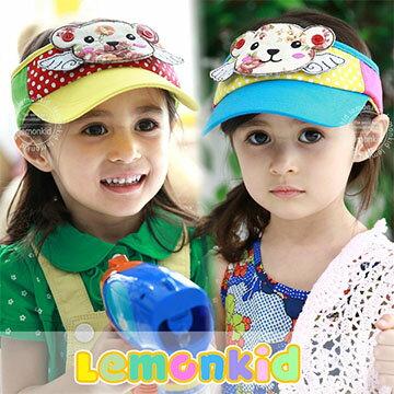 WallFree窩自在★超可愛立體印花小熊翅膀點點兒童帽防曬帽空頂帽
