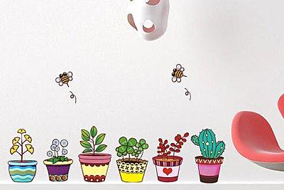 BO雜貨【YP1645】創意可移動壁貼 牆貼 背景貼 兒童房佈置設計 卡通壁貼花 璧貼 可愛盆栽