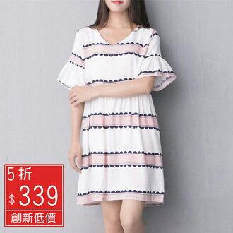 Missyoyo 韓版喇叭袖印花棉麻娃娃裝洋裝【N198860】-預購