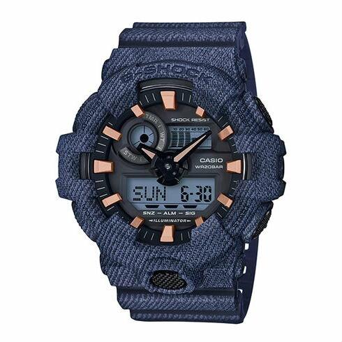 CASIOG-SHOCKGA-700DE-2A牛仔丹寧流行腕錶53mm