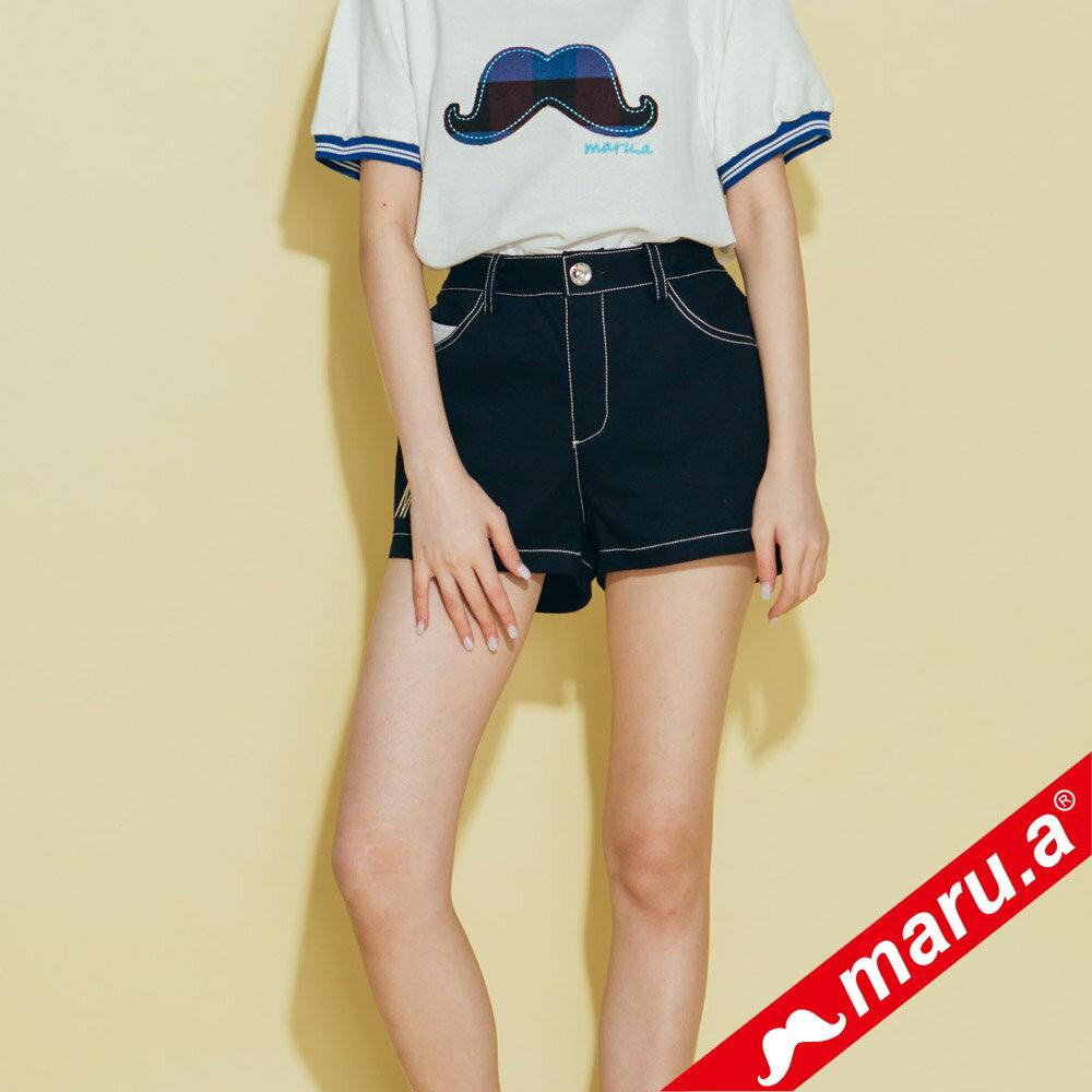 【maru.a】網路限定款*刺繡雙口袋皮標鬆緊帶短褲(2色)8985112 0
