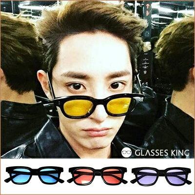眼鏡王☆BIGBANG權志龍GD同款韓國明星時尚型男正妹潮流太陽眼鏡鉚釘裝飾膠框墨鏡黑藍紅紫黃色反光白S243
