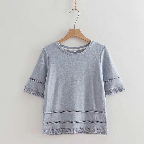 *ORead*日系文藝鏤空下擺流蘇圓領純棉T恤(2色S~L) 1