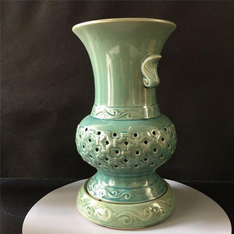 自產自銷復古高雅青瓷暗紋冰裂紋蘭花盆家居綠植帶孔瀝水花瓶