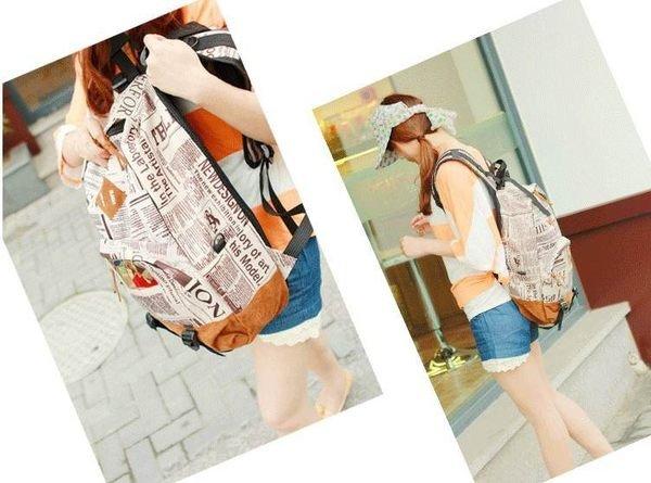=優生活=2015新款學生包 歐美報紙圖案 雙肩包背包 後背包