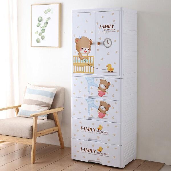 Mr.box【024008-01】寶貝熊雙開門式兒童吊掛衣櫃(二門4大抽屜);收納傢俱孩童童趣衣服