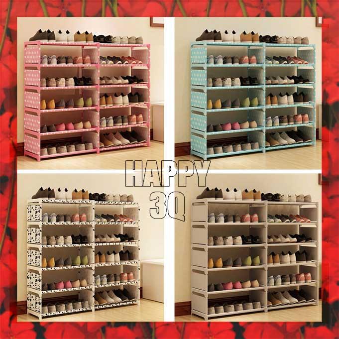 現代簡約圓點點DIY組裝優質防水小物收納架鞋架書櫃雙排-銀灰/藍點/粉點/黑白【AAA0720】