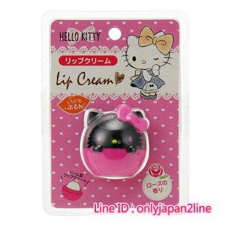 【真愛日本】16100800002造型香味護唇膏-KT玫瑰黑桃  三麗鷗 Hello Kitty 凱蒂貓 唇膏 唇部保養 滋潤