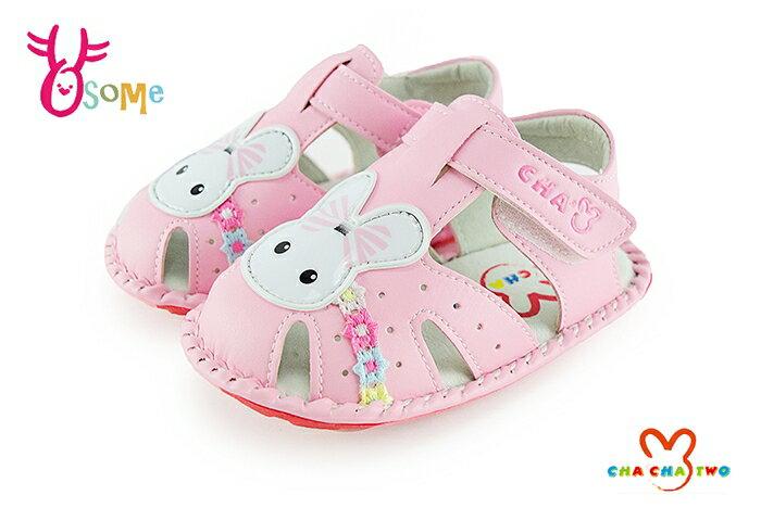 CHA CHA TWO 天鵝 小童 小兔子真皮學步涼鞋 H6037#粉紅◆OSOME奧森鞋業