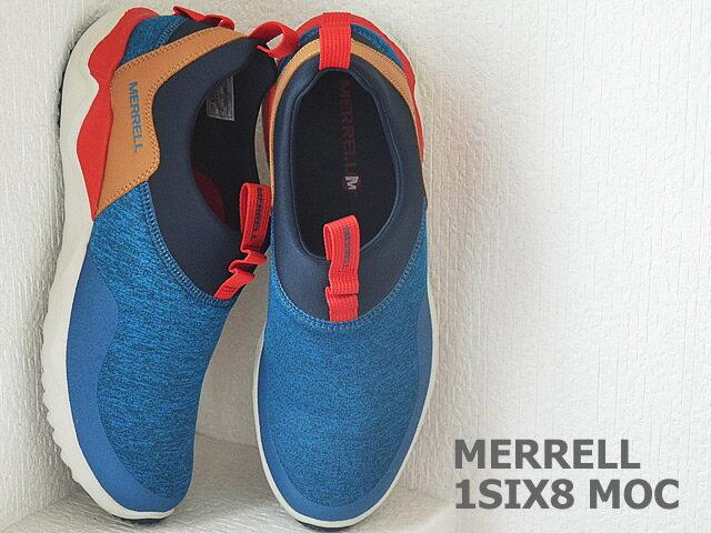 MERRELL 都會休閒款 避震氣墊 舒適耐走 直套式 免綁鞋帶 藍/卡其 男款 1