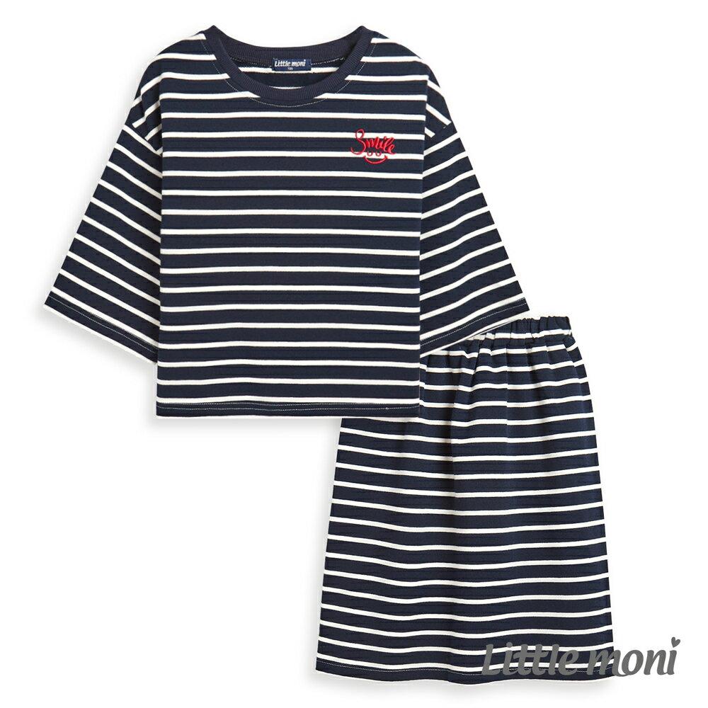 Little moni 運動風條紋套裝-深藍(好窩生活節) - 限時優惠好康折扣