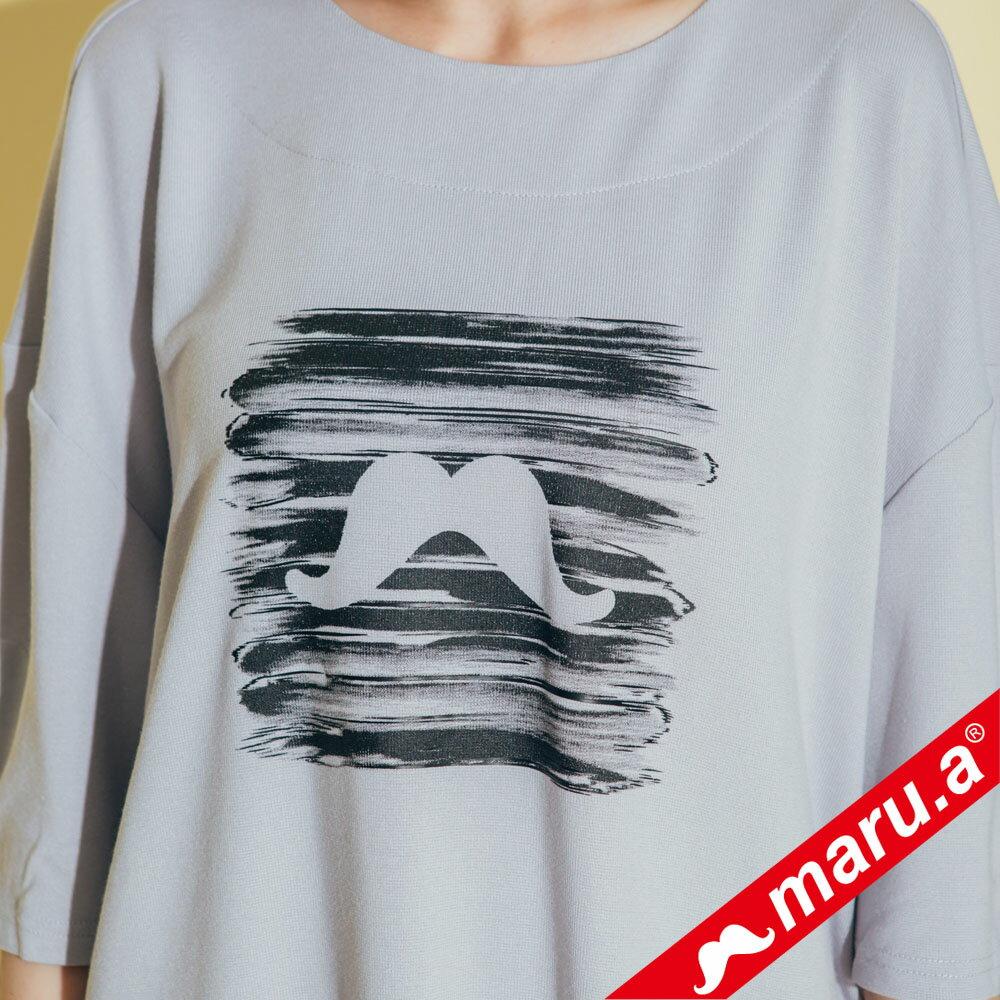 【maru.a】胸口鬍子印花袖口綁帶落肩後魚尾裙襬洋裝 8317162 6