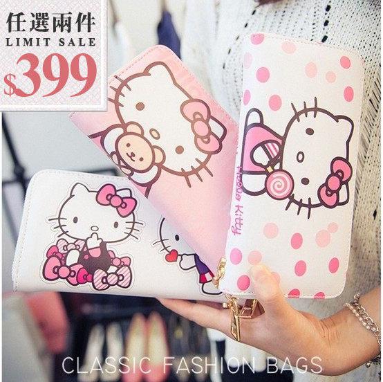 Kitty長夾-超可愛卡通 Hello Kitty萬用大容量手拿長夾【AN SHOP】
