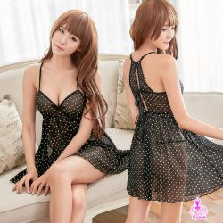 【妮薇NIVIE情趣用品】黑色柔紗愛心點點美背造型二件式性感睡衣NA16020147